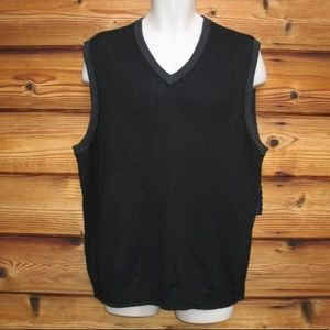 NWT Black Gray Italian Merino Wool Sweater Vest